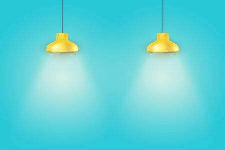 Interior of Blue wall with yellow vintage pedant lamps. Duotone color fashion interior. Vector Illustration Illusztráció