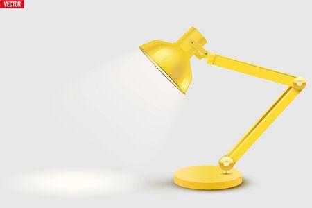 Task table desk lamp with spot ray . Sample Model Vintage Cone Shade in yellow color. For Coworking, Home Office Workspace and Study Room. Vector Illustration isolated on white background. Ilustrace