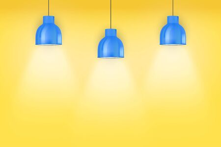 Interior of yellow wall with blue vintage pedant lamps. Duotone color fashion interior. Vector Illustration