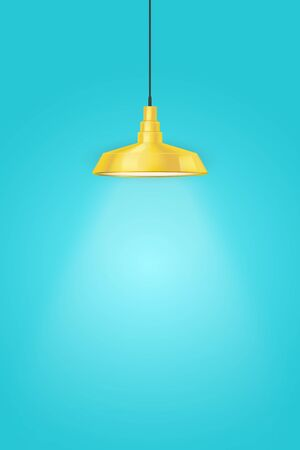 Interior of Blue wall with one yellow vintage pedant lamp. Duotone color trend interior. Kitchen illumination. Vector Illustration Illusztráció