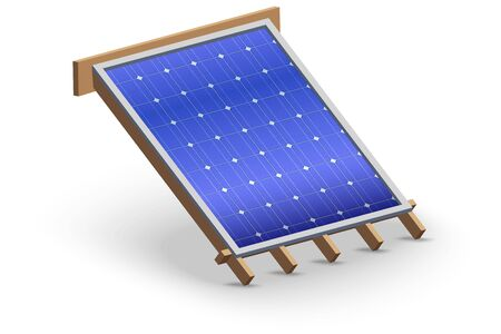 Concept Solar Panel Cover on Roof. Element concept for building construction and repair. Environmental conservation and Renewable energy sources. Vector Illustration isolated on white background.