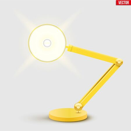 Yellow table lamp with spot ray on screen. Sample Model Vintage Cone Shade in yellow color. For Coworking, Home Office Workspace and Study Room. Vector Illustration Banque d'images - 147604920