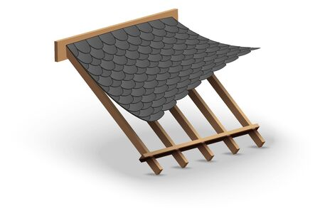 Black Shingles roofing Cover on Roof. Cartoon style. Demonstration of covering materials. Vector Illustration isolated on white background.
