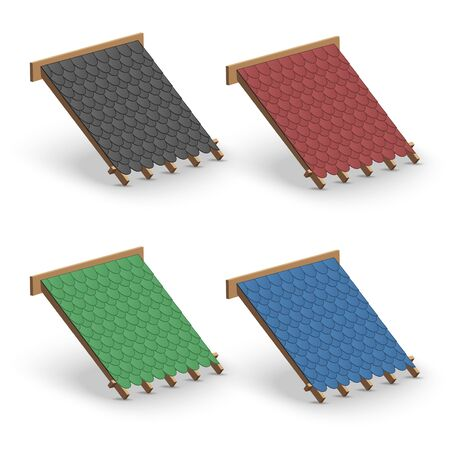 Set of Shingles roofing Cover on Roof. Element concept for building construction and repair. Vector Illustration isolated on white background.