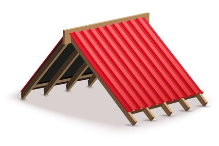 Red metal roofing cover on the roof. Element concept for building construction and repair. Vector Illustration isolated on white background.