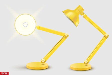 Task table desk lamp set. Sample Model Vintage Cone Shade in yellow color. For Coworking, Home Office Workspace and Study Room. Vector Illustration