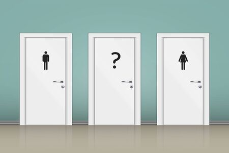 Toilets WC with three gender sign. Toilet sign concept with question mark for undecided gender. Vector Illustration.  イラスト・ベクター素材