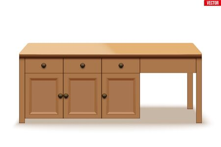 Kitchen island table. Modern domestic table with drawers. Big wooden table for family meal and brunch. Vector Illustration isolated on white background. Иллюстрация
