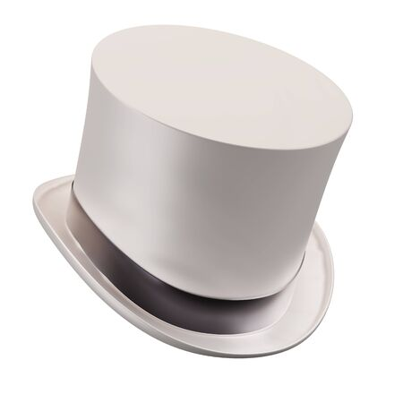 Genleman Hat Cylinder White Color. Concept of magic and gentleman fashion accesory. 3D render Illustration isolated on white background.