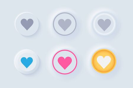 Neumorph UI like buttons light set. Buttons with heart for Favorites and Likes. Workflow graphic elements in Skeuomorph Trend Design. Elements for applications. Editable Vector illustration.