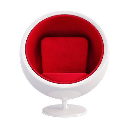 Ball Chair isolated on white background. Classic furniture model of White Ball chair with Red Velvet Seat. Front view of Egg chair for hi-tech interior. 3D render Illustration