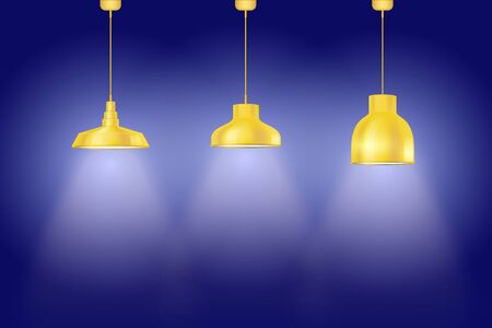 Interior of Blue wall with yellow vintage pedant lamps. Set of retro style lamps. Vector Illustration