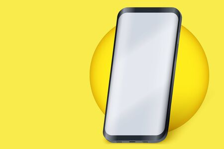 Smartphone layout presentation mockup on yellow color. Example frameless model mobile phone with touchscreen on circle. Project application mockup. Vector Illustration Vettoriali