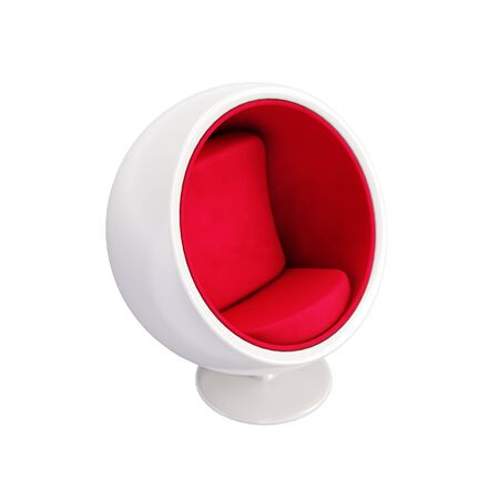 Ball Chair isolated on white background. Classic furniture model of White Ball chair with Red Velvet Seat. Perspective view of Egg chair for hi-tech interior. 3D render Illustration