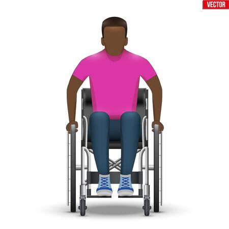 Disabled black man in wheelchair. Disability Man sitting in wheelchair and hold wheel. Front view. Vector Illustration isolated on white background. Vettoriali