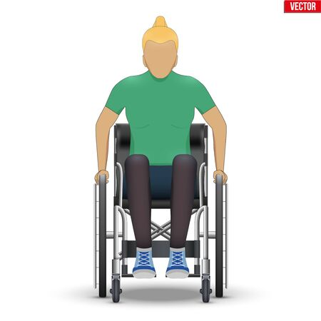 Disabled woman in wheelchair. Disability Man sitting in wheelchair and hold wheel. Front view. Vector Illustration isolated on white background.