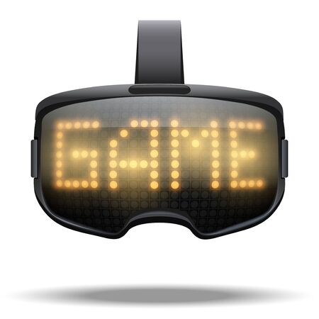 Original VR goggles Game headset with light text effect. Front view. Vector illustration Isolated on white background.