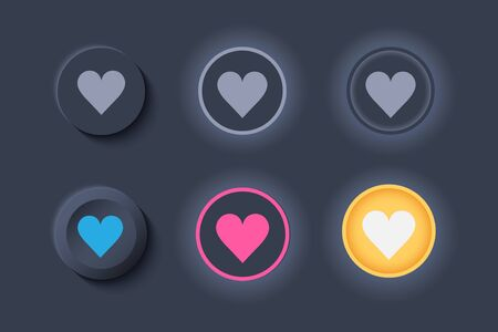 Neumorph UI like buttons dark set. Buttons with heart for Favorites and Likes. Workflow graphic elements in Skeuomorph Trend Design. Elements for applications. Editable Vector illustration.