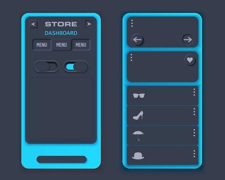 Neumorph design on layout screen. Shop landing ui kit. Dark color set. Skeuomorph Trend Design. Workflow UX smart technology applications. Vector illustration.