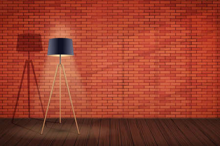 Interior of red brick wall and Tripod floor lamp. Background of loft and trendy showroom or cafe. Decorative Floor Lamp Tripod Model with Black Silk Shade and solid wood legs. Vector Illustration.