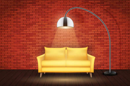 Interior of loft with furniture. Yellow Sofa and Vintage floor lamp. Red bricks and wooden floor. Vector Illustration.