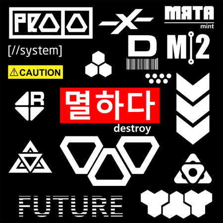 Cyberpunk Elements. Sign and text in Cyberpunk style for cloth and interface. English and Korean inscriptions. Vector Illustration isolated.