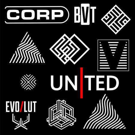 Cyberpunk Elements. Sign and text in Cyberpunk style for cloth and interface. Symbols and logo with inscriptions. Vector Illustration isolated. Vettoriali