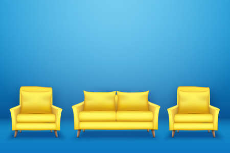 Sample interior scene with Modern yellow sofa with chairs on blue wall. Furniture or interior items for living room or office. Minimalistic style. Vector Illustration