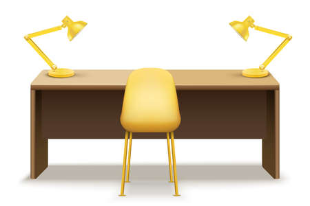 Wooden table desk with lamps for office and home Workplace. Vector Illustration isolated on white background. Vettoriali