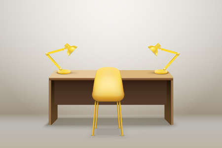 Interior of Wooden table desk with lamps for office and home Workplace. Vector Illustration isolated Illustration