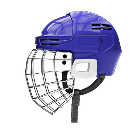 Blank of Classic Ice Hockey Helmet with Metal Facemask. Side view. Sport equipment. Template 3D render illustration. Isolated on a white background.