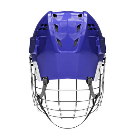 Blank of Classic Ice Hockey Helmet with Metal Facemask. Back view. Sport equipment. Template 3D render illustration. Isolated on a white background.