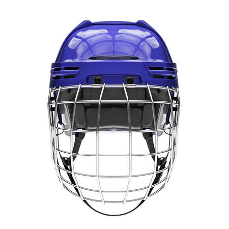 Blank of Classic Ice Hockey Helmet with Metal Facemask. Front view. Sport equipment. Template 3D render illustration. Isolated on a white background. 스톡 콘텐츠