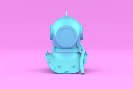 Painted Blue Scuba helmet on pink background. Front view. Underwater diving helmet in Minimal Style. Trendy duotone effect. 3D render Illustration.