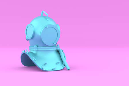 Painted Blue Scuba helmet on pink background. Perspective view. Underwater diving helmet in Minimal Style. Trendy duotone effect. 3D render Illustration.