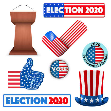 Labels of USA Election 2020. Presidential Election of United States. Editable Vector illustration Isolated on white background.