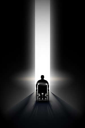 Light at the end of the tunnel and Silhouette of Disabled man in wheelchair. Concept illustration of hope and way out of crisis. Editable Vector Illustration