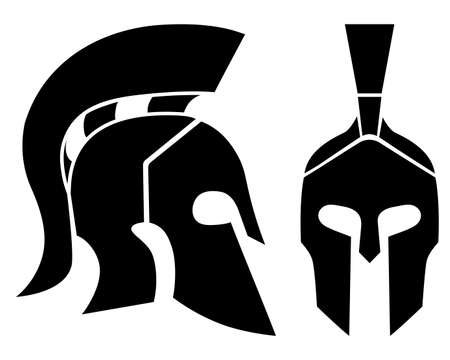 Set of of Spartan helmet Silhouettes. Front and side view. Ancient warrior simbol. Vector Illustration isolated on background.