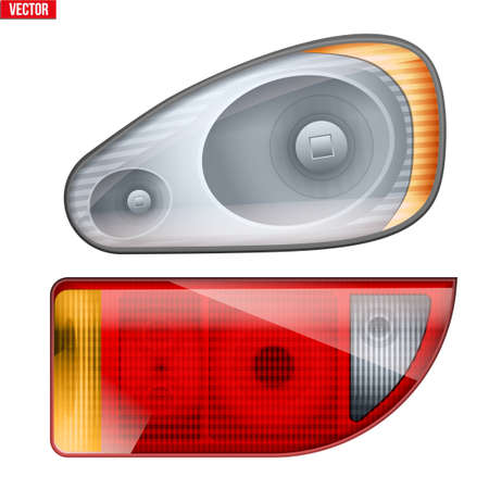 Rectangular car headlight and backlight. Glass case of frontlight and backlight. Vector Illustration isolated on white background.