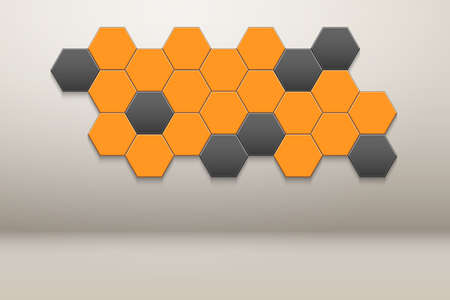 Interior room with Honeycomb Hexagon Wall Decor. White wall and orange hexagon ornament. Vector illustration