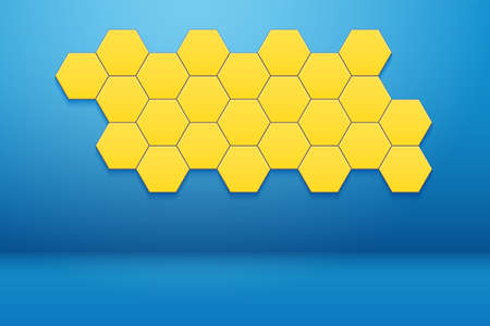 Interior room with Honeycomb Hexagon Wall Decor. Blue wall and yellow hexagon ornament. Vector illustration Vettoriali