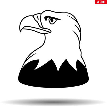 Head of American Eagle. Symbol of USA great seal bird. Vector Illustration isolated on white background.