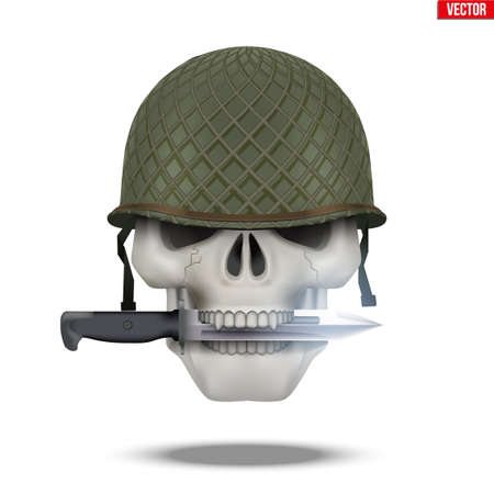 Skull with Military helmet and knife. Symbol of militarism for labels and patch. Vector Illustration on isolated white background