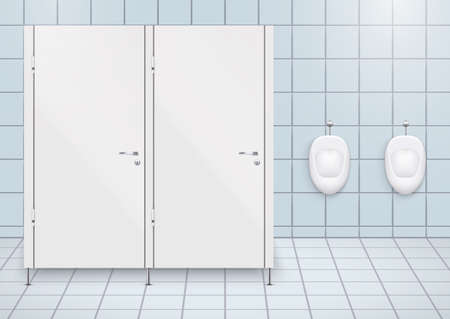 Toilet cubicle. WC restroom and porcelain urinals in row. Public Toilet Interior with ceramic urinals. Front view and wall mount. Vector Illustration