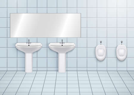 WC washroom with white porcelain sink and urinals. Public restroom Interior with ceramic washbasins and toilet. Front view and wall mount. Vector Illustration