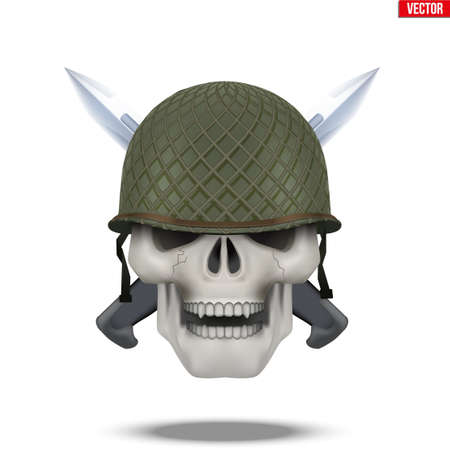 Skull with Military helmet and knife cross. Symbol of militarism for labels and patches. Vector Illustration on isolated white background Vettoriali