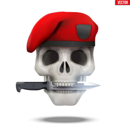 Skull with Military beret and knife cross. Symbol of militarism for labels and patches. Vector Illustration on isolated white background