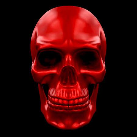 Human Skull Metallic Paint Red Color.