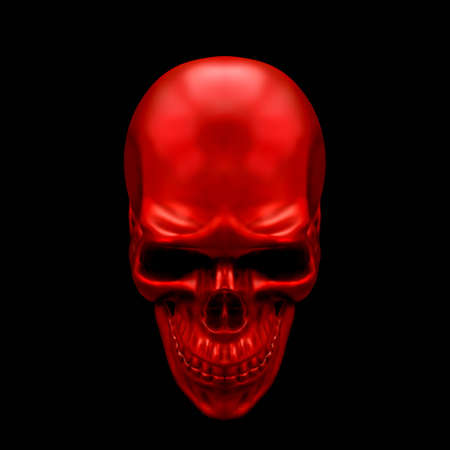 Scull Metallic Paint Red Color. Front view. 3D render Illustration isolated on background.