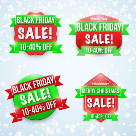 Black Friday Sale Badge Set. Labels for advertisement sale campaign. Editable Vector Illustration Isolated on background.